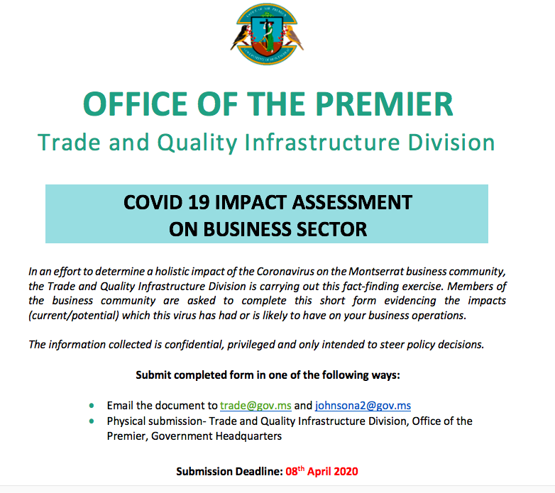 COVID-19 Business Impact Assessment Form, Business Impact Form, Montserrat Businesses, Montserrat Aiding Business, Aid for Businesses in Montserrat, Montserrat Government Assistance for business